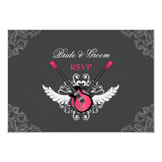 Rock and Roll Wedding Fuchsia Grey RSVP card