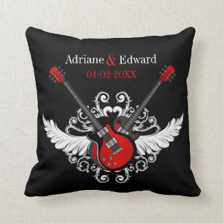 Rock and Roll Wedding Love Guitars Black Red Throw Pillow