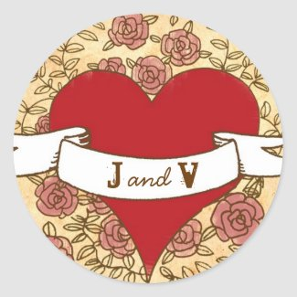 Rock and Roll Wedding Monogram Sticker (Roses) sticker