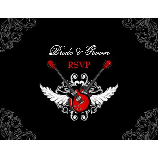 Rock and Roll wedding RSVP card invitation