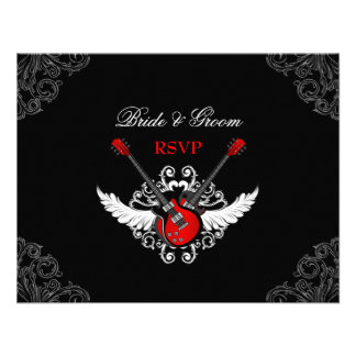 Rock and Roll Wedding RSVP card