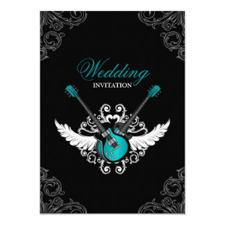 Rock and Roll Wedding Teal Black invitation