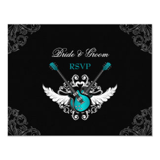 Rock and Roll Wedding Teal Black RSVP card