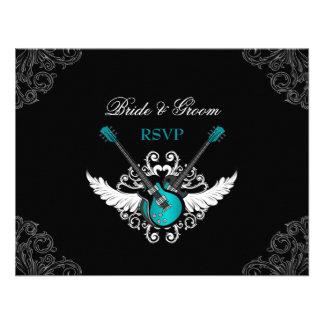 Rock and Roll Wedding Teal Black RSVP card