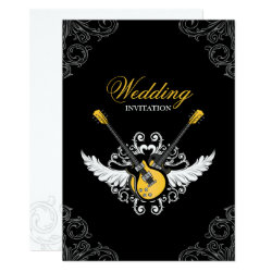 Rock and Roll Wedding Yellow Black invitation