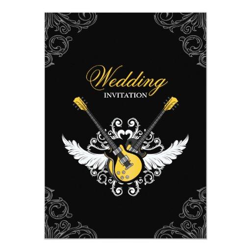 Rock And Roll Wedding Yellow Black Invitation