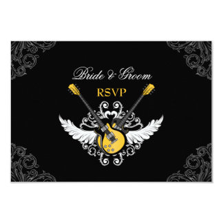 Rock and Roll Wedding Yellow Black RSVP card Personalized Invites
