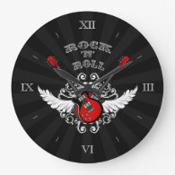 Rock and Roll Winged Guitars Wall   Clock