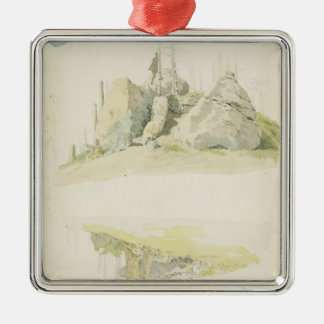 Rock and Tree: Two Studies, 12th July 1810 Metal Ornament