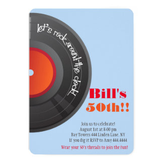 Rock around the Clock 50th Birthday Party Card