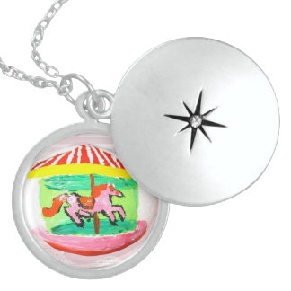 Rock Art, Carousel Round Locket Necklace