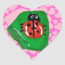 Rock Art, Ladybug Heart Sticker