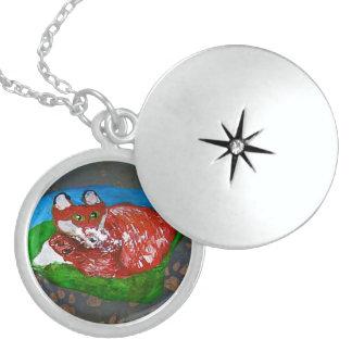Rock Art, Red Fox Round Locket Necklace
