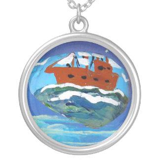 Rock Art, Sailing Ship Round Pendant Necklace