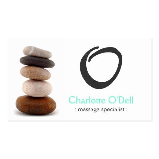 rock balancing monogram business card