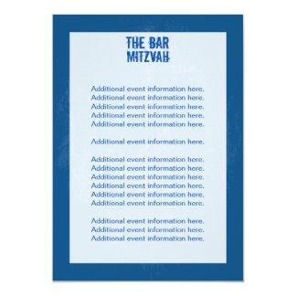 Rock Band Bar Mitzvah Info Card - Blue