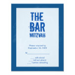 Rock Band Bar Mitzvah Reply Card In Blue