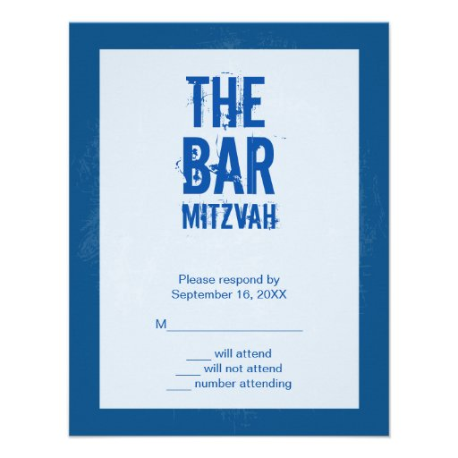 Rock Band Bar Mitzvah Reply Card In Blue Custom Invitation