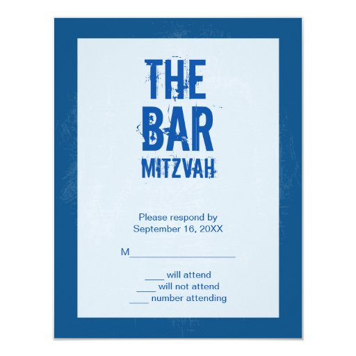 """Rock Band Bar Mitzvah Reply Card In Blue 4.25"""" X 5.5"""" Invitation Card"""