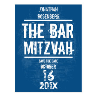 Rock Band Bar Mitzvah Save the Date All Type, Blue Postcard