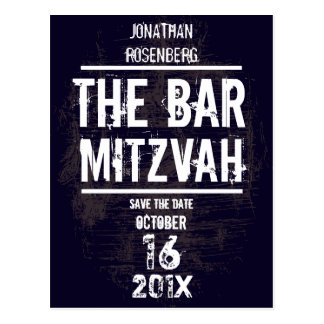 Rock Band Bar Mitzvah Save the Date All Type Postcard