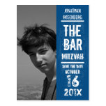 Rock Band Bar Mitzvah Save the Date in Blue Postcards