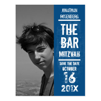 Rock Band Bar Mitzvah Save the Date in Blue Postcard