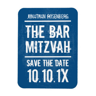 Rock Band Bar Mitzvah Save the Date Magnet, Blue Rectangular Photo Magnet