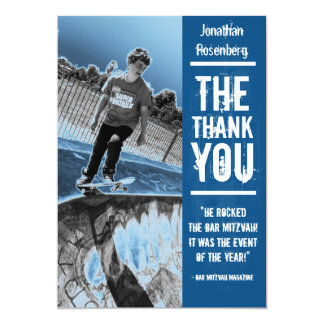 Rock Band Bar Mitzvah Thank You Card in Blue