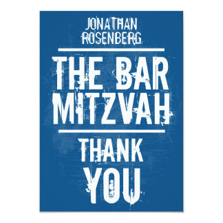 Rock Band Bar Mitzvah Thank You In Blue - All Type 5x7 Paper Invitation Card