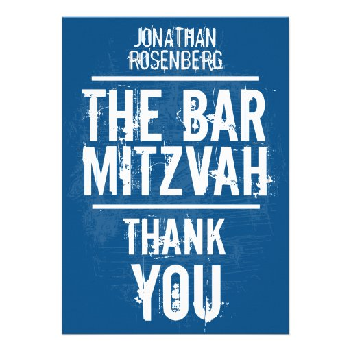 Rock Band Bar Mitzvah Thank You In Blue - All Type Card