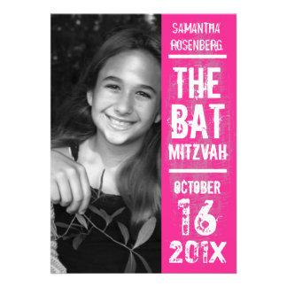 Rock Band Bat Mitzvah Invitation in Pink