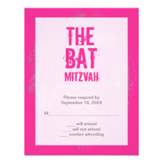 Rock Band Bat Mitzvah Reply Card in Pink Personalized Invites