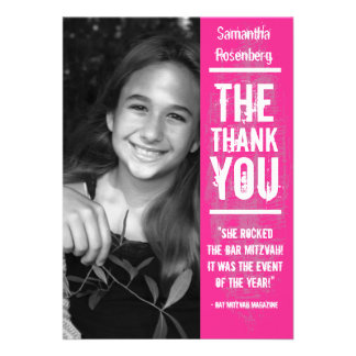 Rock Band Bat Mitzvah Thank You Card in Pink Personalized Invites
