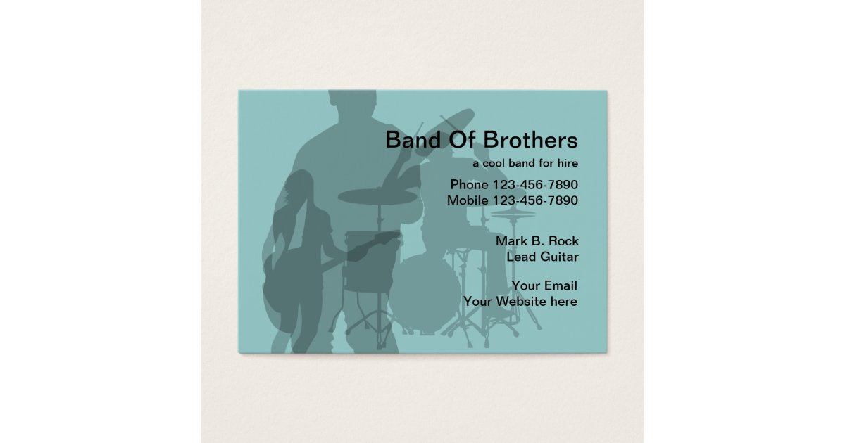 Beautiful Rock Band Business Cards Illustration - Business Card ...