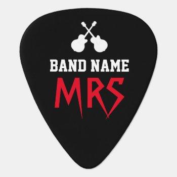 Rock Band Name & Guitarist Initials Black Guitar Pick by mixedworld at Zazzle