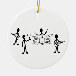 Rock Band Stick Figure Ceramic Ornament