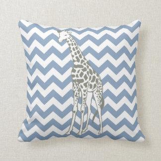 Rock Blue Safari Chevron with Pop Art Giraffe Pillow