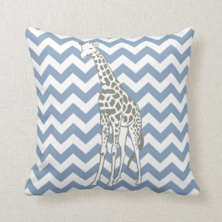 Rock Blue Safari Chevron with Pop Art Giraffe Throw Pillow