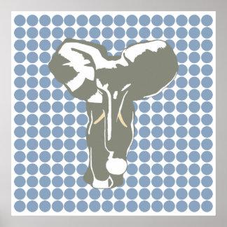 Rock Blue Safari Dot with Pop Art Elephant Poster