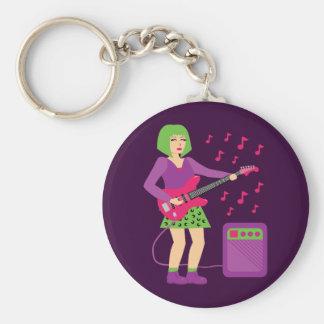 Rock Chick Basic Round Button Keychain