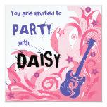 Rock chick guitar party invitation pink & purple 13 cm x 13 cm square invitation card