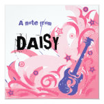 Rock Chick guitar party thank you note card 13 Cm X 13 Cm Square Invitation Card