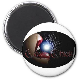 Rock Chick on Mic 2 Inch Round Magnet