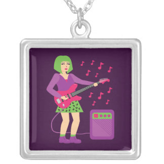 Rock Chick Square Pendant Necklace