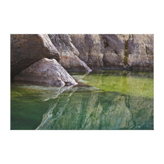 Rock Cliff Reflections in Lake Canvas Print