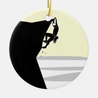 Rock Climber 1 Double-Sided Ceramic Round Christmas Ornament