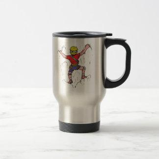 Rock Climber Climbing on T-Shirt Travel Mug