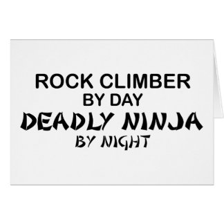 Rock Climber Deadly Ninja by Night Greeting Cards