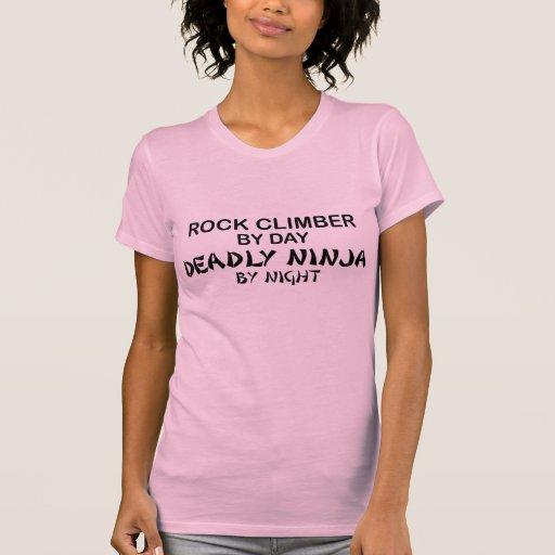 Rock Climber Deadly Ninja by Night T Shirt